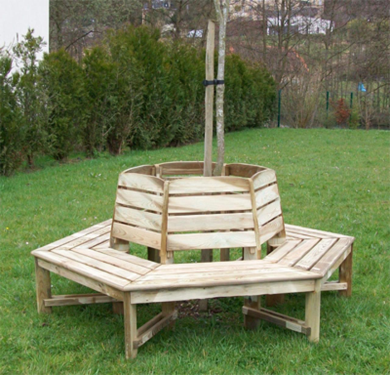Banc tour d\'arbre - Mobilier de jardin en bois 27 - FLBC