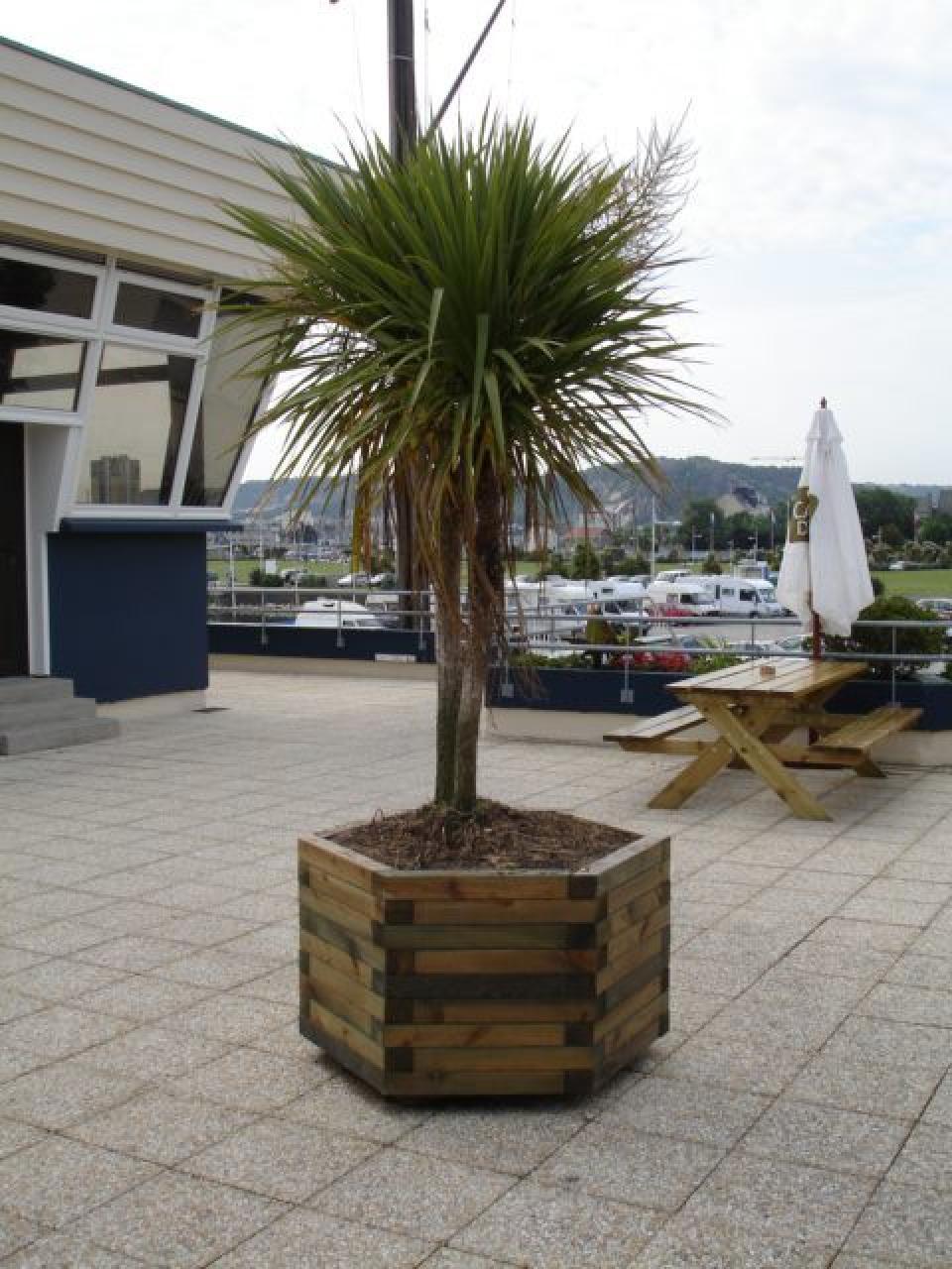 bac à plantes hexagonal - bacs à fleurs et jardinières en bois 27 - flbc
