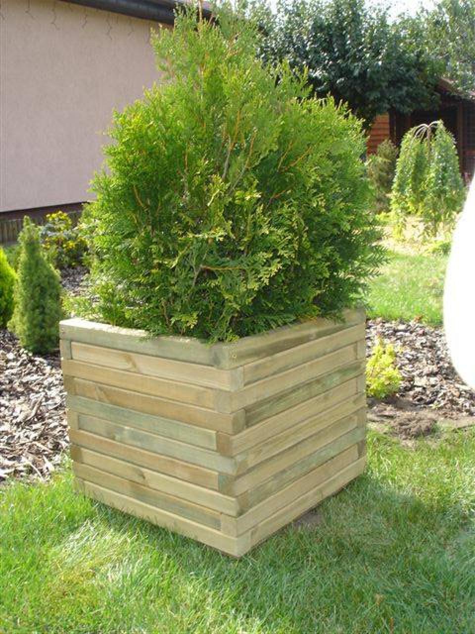 bac à plantes carré - bacs à fleurs et jardinières en bois 27 - flbc