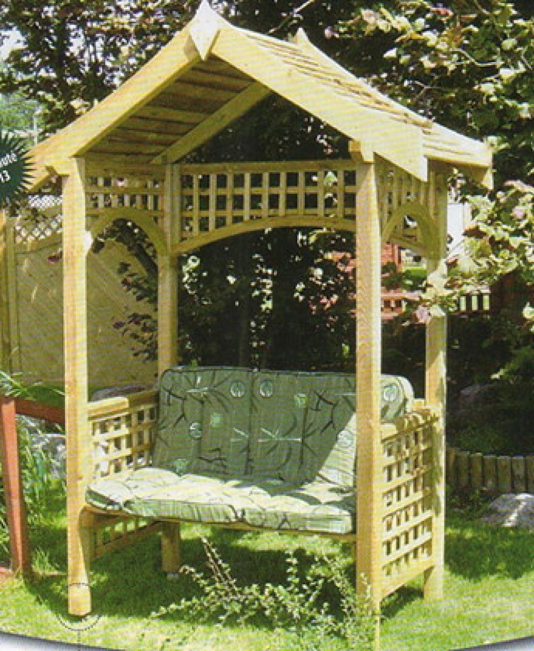 pergola style japonais avec banc coussin non fourni pergolas en bois 27 flbc. Black Bedroom Furniture Sets. Home Design Ideas